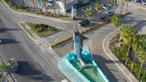 Monument in the center of Punta Cana blue marlin 10 May 2019. Landmark of the Dominican Republic. Blue marlin symbol fish of Punta Cana. License Editorial.