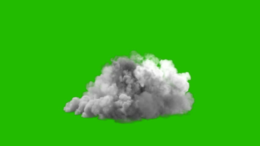 An increasing cloud of Smoke after a strong explosion and shockwave in front of a green screen.