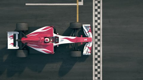Top view of a generic formula one race car driving across the finish line in slow motion - realistic high quality 3d animation