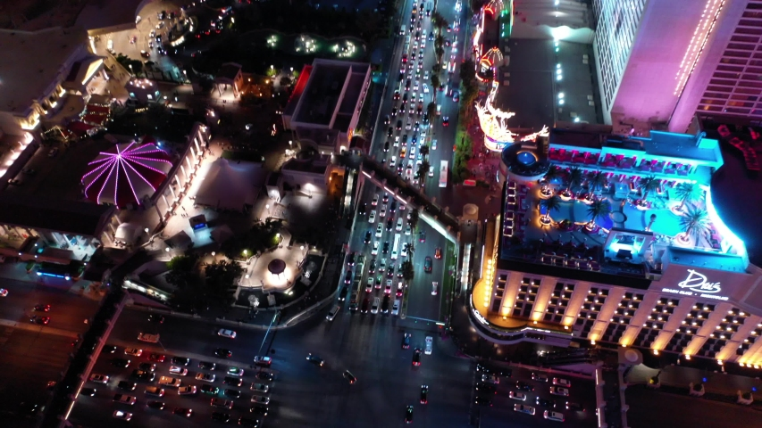 Las Vegas City Downtown Strip Nevada Night Aerial