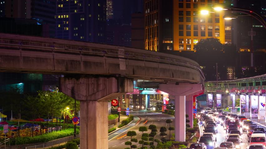 KUALA LUMPUR, MALAYSIA - SEPTEMBER 25 2018: night time illuminated kuala lumpur famous traffic street panorama 4k timelapse malaysia | Shutterstock HD Video #1029486299