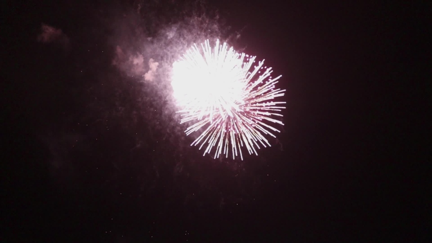Festive fireworks against the background of the night sky, soft focus | Shutterstock HD Video #1029559229