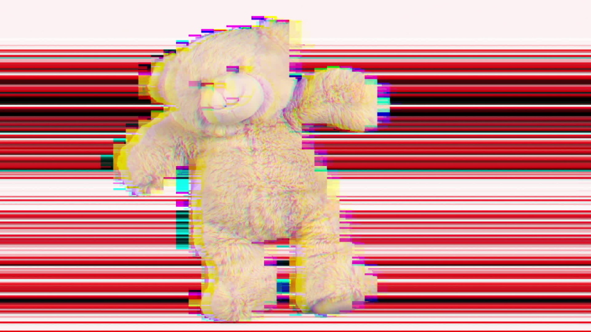 Amazing funky teddy bear brought to life dancing with overlayed glitch and distortion | Shutterstock HD Video #1029567959
