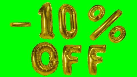 Discount 10 ten percent off golden balloon sale banner floating on green screen shopping offer