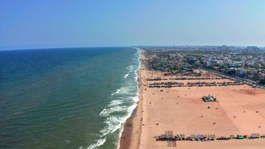 Drone Aerial View of Elliots Besant Nagar Beach in Chennai Tamil Nadu India | Shutterstock HD Video #1029602939