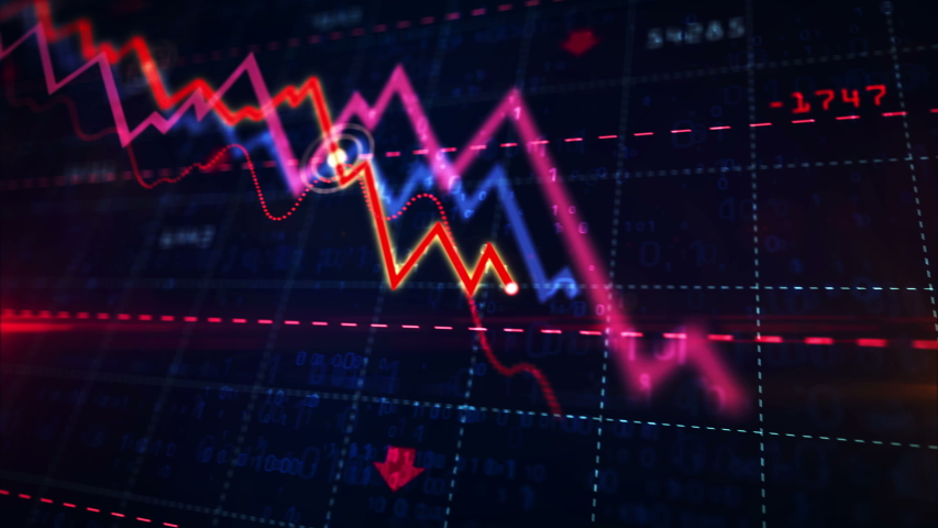 Stock markets down dynamic chart on dynamic blue background. Concept of financial stagnation, recession, crisis, business crash and economic collapse. Downward trend 3d animation. | Shutterstock HD Video #1029607169