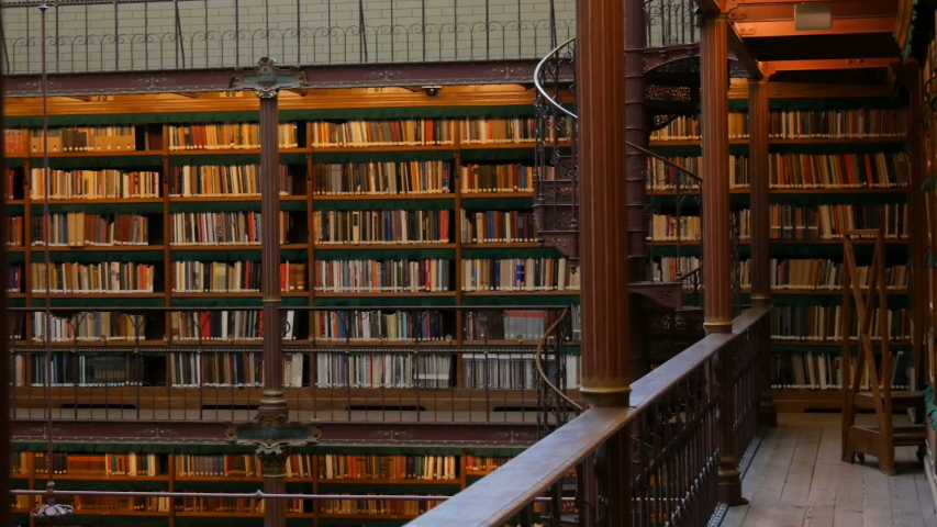 Beautiful vintage bookshelves in the old library in Rijksmuseum, Amsterdam | Shutterstock HD Video #1029677399