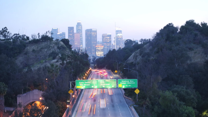 Time lipse sunset view on downtown los angeles with highway | Shutterstock HD Video #1029728159