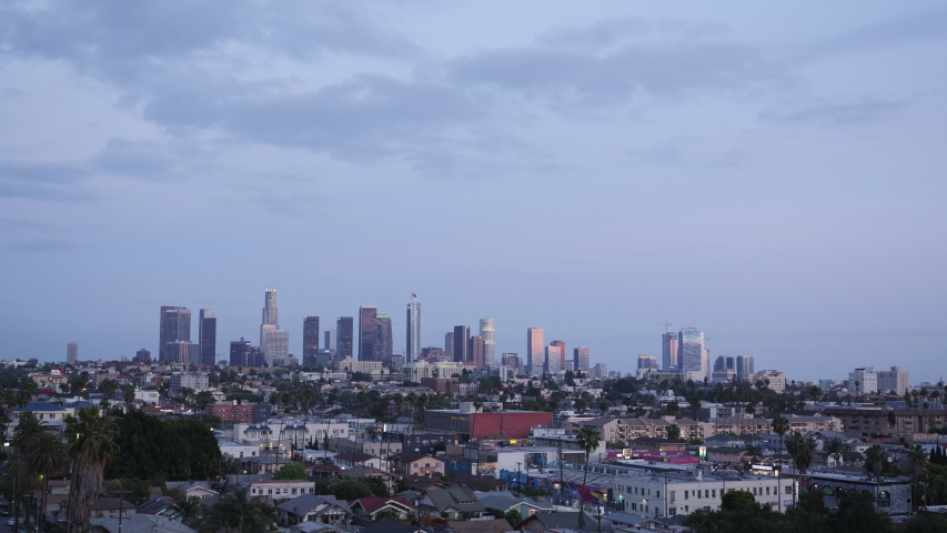 Time lapse photo view downtown los angeles at sunset and night | Shutterstock HD Video #1029728819
