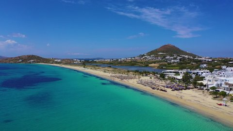 Aerial drone video of tropical paradise turquoise beach in mediterranean destination