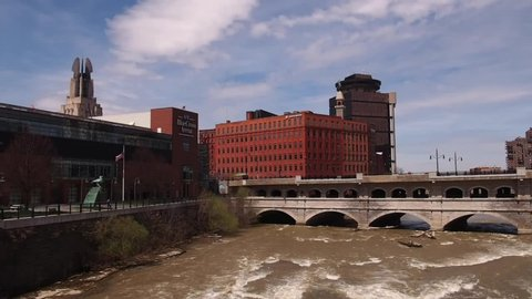 Rochester, New York, USA. May 1, 2019. View from the Court Street Bridge of the city of Rochester, NY and the Genesee River