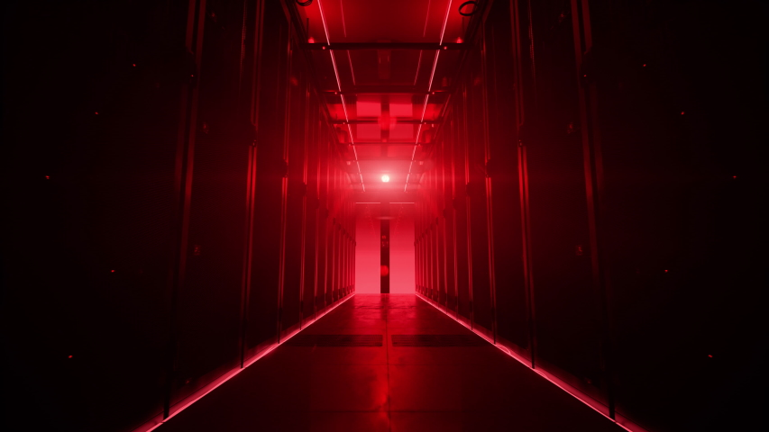 Camera moving along the corridor in data center with server equipment, the lights turning off until total darkness, then red light suddenly lights up in danger. Photorealistic 3D render animation. | Shutterstock HD Video #1029880739