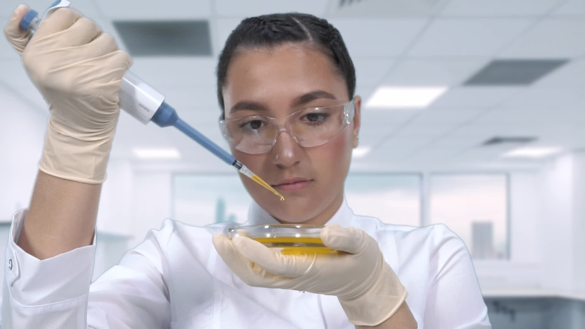 A female lab technician examines a sample of a yellow liquid using a micropipette and a petri dish sitting at a table in the newest medical laboratory. | Shutterstock HD Video #1029888209