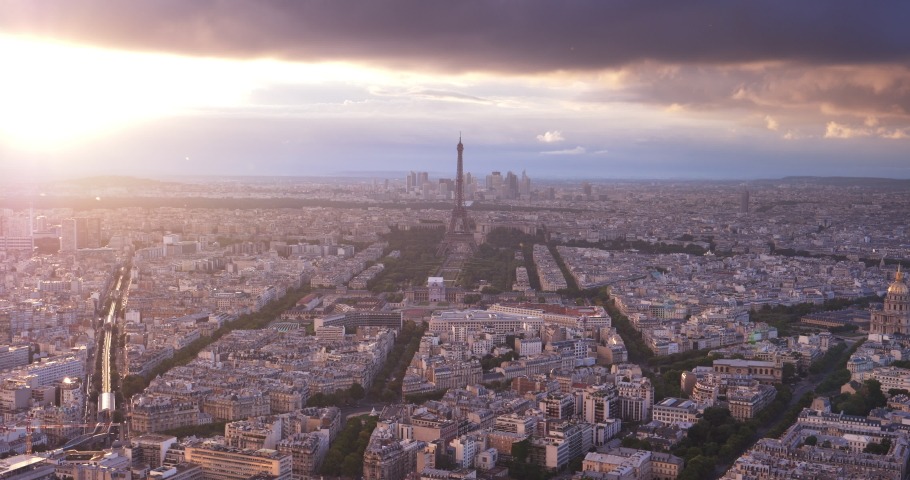 Paris from high point and tower of Eifel, France | Shutterstock HD Video #1029921329