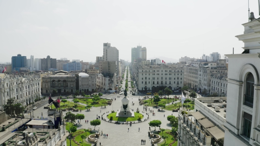 "Aerial view of San Martin square with monument. Tourists and people gathered at ""Plaza San Martin"" in the historic center capital of Peru."