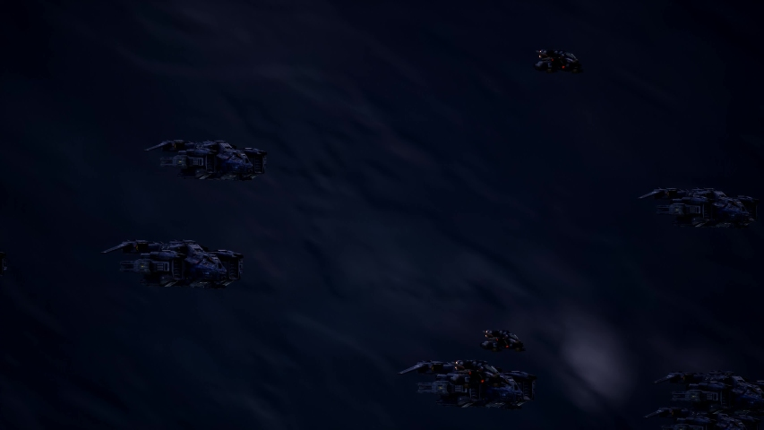 Space ships carry missiles flying into space to start the battle animation | Shutterstock HD Video #1029956549