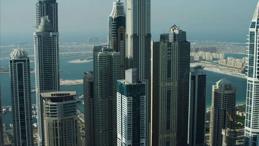 Aerial Skyscrapers Dubai Palm Jumeirah Island Apartment UAE
