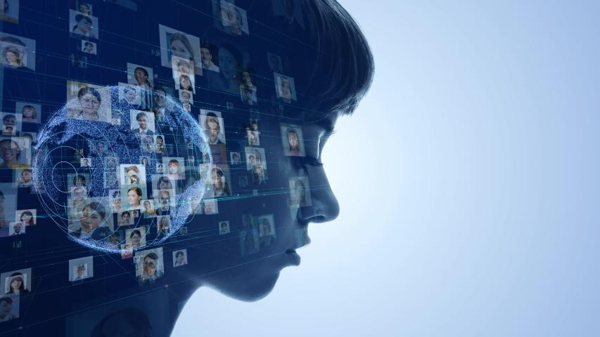 AI (Artificial Intelligence) concept. Global communication technology. | Shutterstock HD Video #1030083359