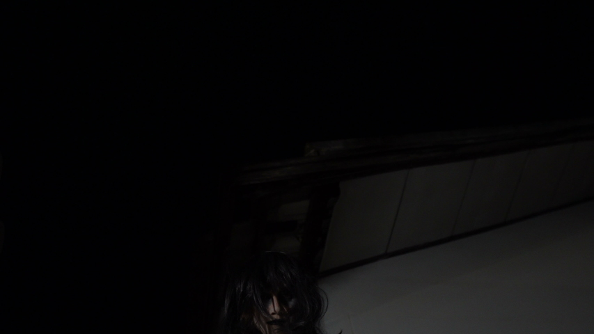 Portrait of asian woman make up ghost face,Horror scene,Scary background,Halloween poster  | Shutterstock HD Video #1030088849