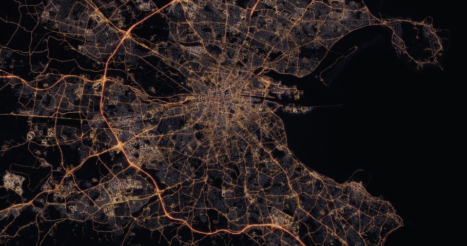Aerial night view of city of Dublin Ireland. Traffic and street light glowing. Camera flying high above and moving forward over from space filming cinematic straight down. 3d animation rendering. | Shutterstock HD Video #1030148549