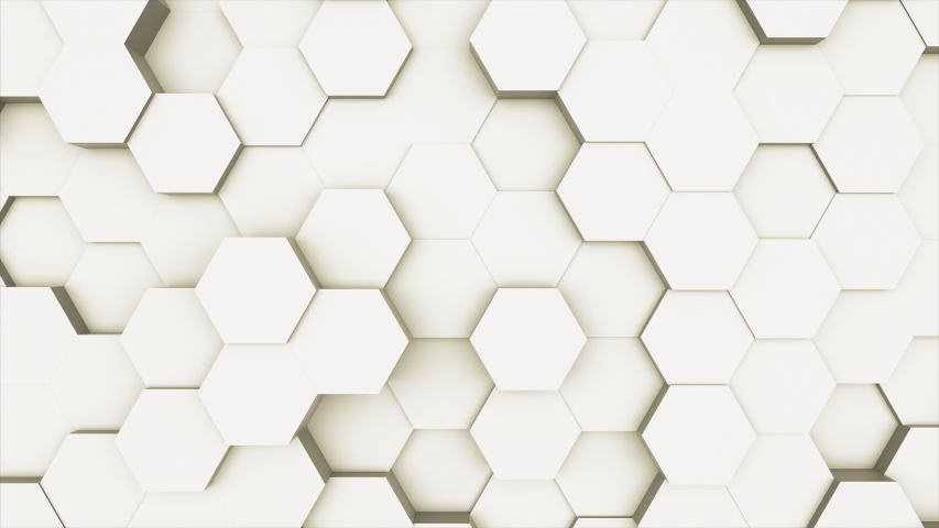 Random waving motion abstract background from hexagon geometric surface loop: light bright clean minimal hexagonal grid pattern, canvas in pure wall architectural white. Seamless loop cg 3d animation | Shutterstock HD Video #1030218689