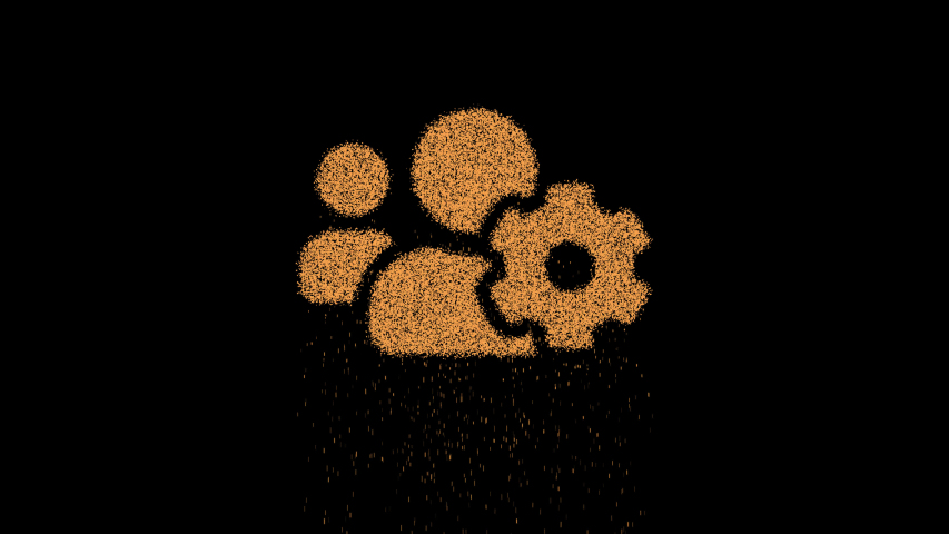 Symbol users cog appears from crumbling sand. Then crumbles down. Alpha channel Premultiplied - Matted with color black | Shutterstock HD Video #1030231409