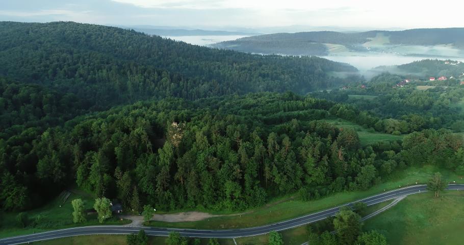 Drone footage of Bieszczady landscape. | Shutterstock HD Video #1030240229