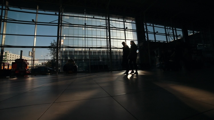 People silhouettes walking on the airport hall | Shutterstock HD Video #1030382339