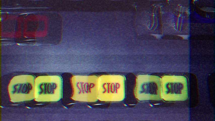 Intentional noise distortion fx tv transmission: the stop buttons of a slot machine (also known as videopoker).