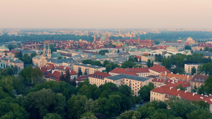 Aerial view of Warsaw old town during dusk | Shutterstock HD Video #1030480919