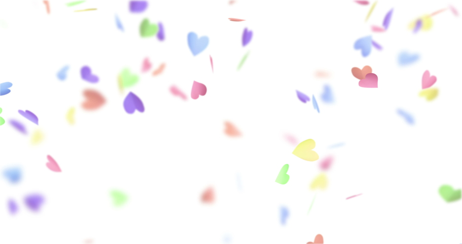 Multicolor paper hearts falling down. 4K video. Valentines day footage. | Shutterstock HD Video #1030506779