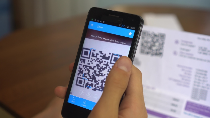 QR Code Scanner. Electricity and Gas Bill. Payment of utility using QR code and mobile device. Consumer pays on his smartphone | Shutterstock HD Video #1030574939