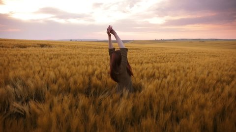 A young girl happily walking in slow motion through a field touching with hand wheat ears. Beautiful carefree woman enjoying nature and sunlight in wheat field at incredible colorful sunset