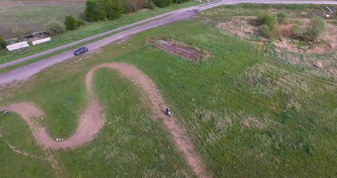 Adventure fun motocross off road racing in Szczecin Poland, drone shot