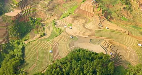 Aerial footage of rice terraces in Mu Cang Chai, Vietnam. 24p - 58 seconds, 56Mbps, 384MB, no sound.
