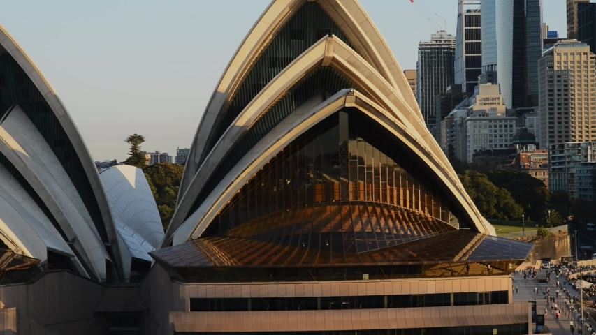 Sydney, Australia - May 2019: close up of Sydney Opera House, view from the harbour