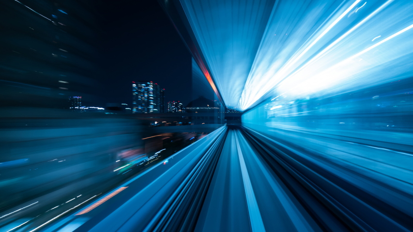 Time-lapse Light motion blur from Yurikamome Line moving inside tunnel in Tokyo, Japan. | Shutterstock HD Video #1030673609