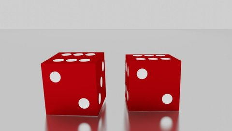Red dice roll towards camera, land on pair of sixes