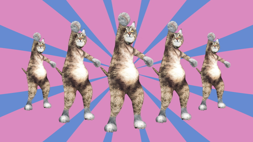 Comic tomcats waving paws and tail in an energetic clip summer mood. A cute brown pussycats dancing together in a modern style in tunnel colour space. Cool and the best moves in stylish of 80s and 90s | Shutterstock HD Video #1030783859