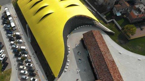Modena, Italy - 10 13 2018: Drone footage over Ferrari museum, Modena, Italy