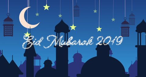 Digitally generated animation of a silver glitter Eid Mubarak greeting for 2019 with a blue  background of mosque silhouettes and black lanterns hanging with yellow stars and crescent moon in white