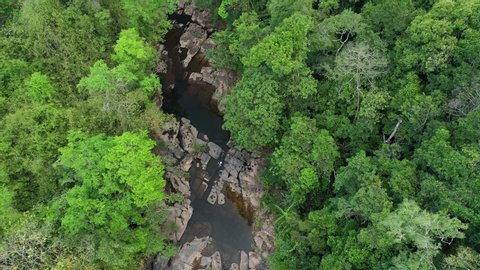 Aerial view waterfall in deep forest. Khlong Chao Waterfall in Koh Kood, Thailand