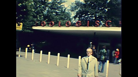 BERLIN, GERMANY - CIRCA 1979: famous Berlin zoo entrance with sign: Zoologischer Gart in 1970s. Marine animals in the zoo, penguins and sea lions.