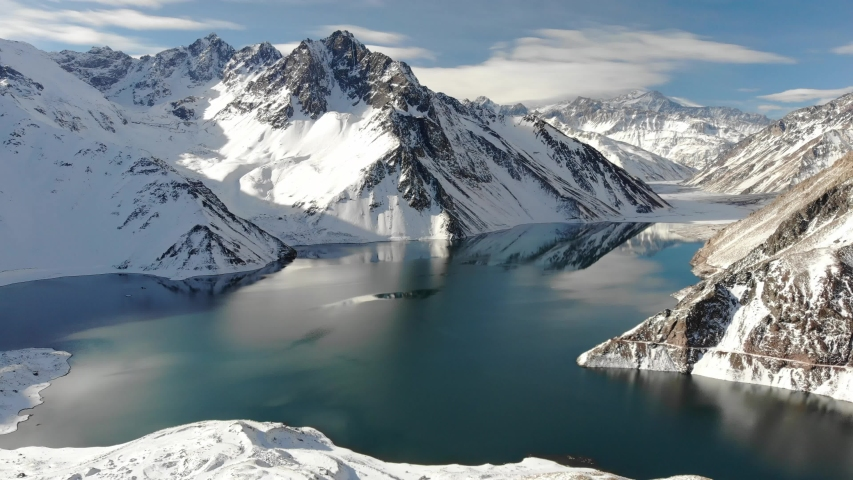 Embalse El Yeso, located in the Andes of central Chile, this reservoir is the main source of water of Santiago de Chile and an important tourist destination due its beautiful environment. | Shutterstock HD Video #1031085779