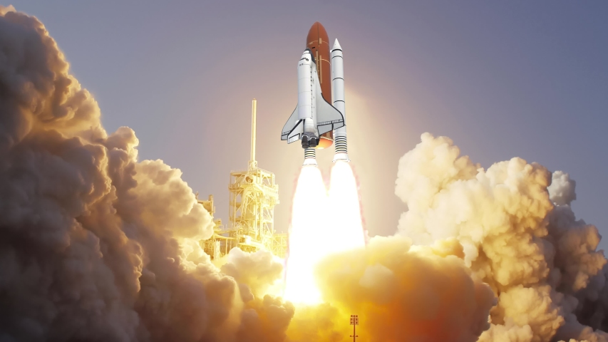 Realistic 3D Animation of Space Shuttle launching in slow motion. | Shutterstock HD Video #1031114459
