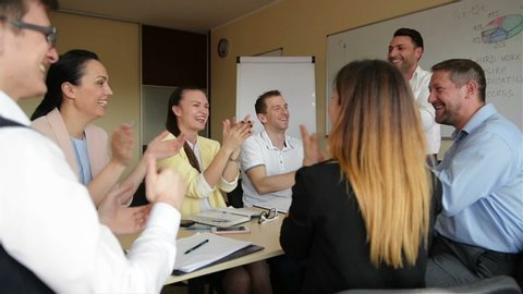 Happy Company Leader Motivating Diverse Business Team People Give High Five Together. Celebrate Reward Good Results Success Together. Employees Group With Coach Mentor Engaged In Teambuilding Teamwork