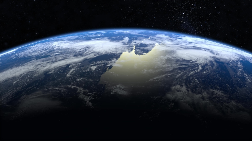Earth from space. The camera is approaching Earth. Stars twinkle. 4K. Realistic atmosphere. 3D Volumetric clouds. | Shutterstock HD Video #1031453009
