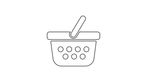 Black Shopping basket line icon on white background. Online buying concept. Delivery service sign. Shopping cart symbol. 4K Video motion graphic animation