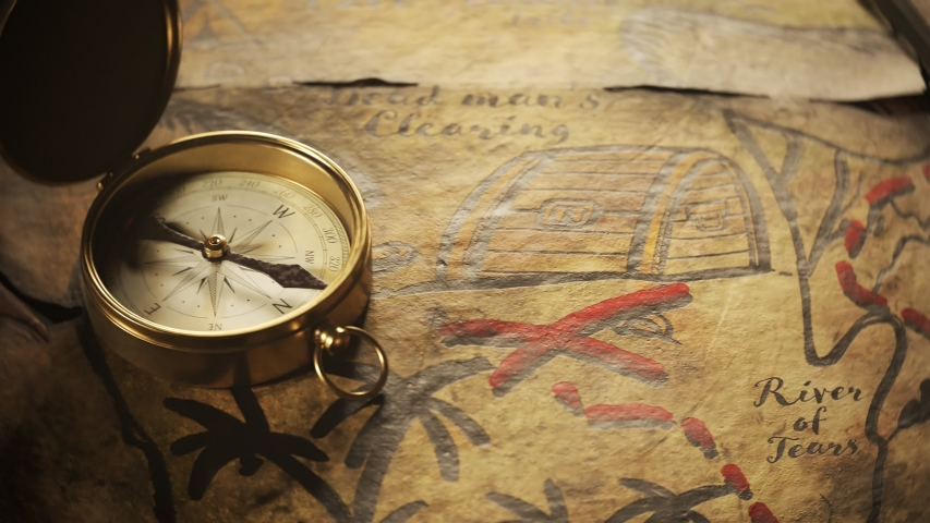 Old, worn, translucent, handmade drawn treasure map on a wooden tavern table with sword and compass on top of it. Close up camera follows the red dashed line until it reaches the x spot.    Shutterstock HD Video #1031514779