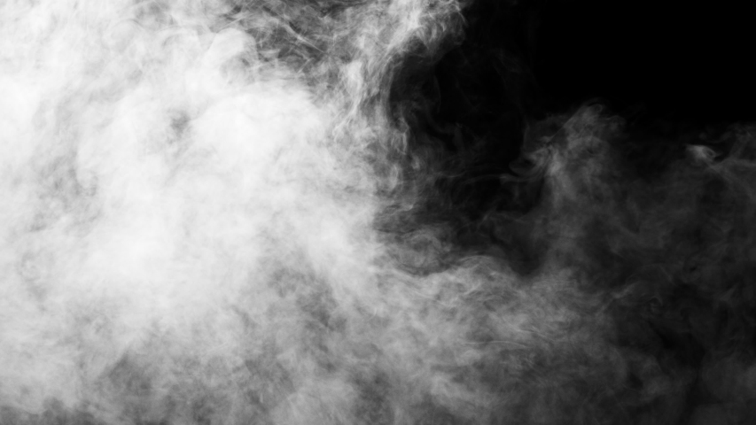 White clouds of vapor smoke are isolated on a black background. Gas explodes, swirl and dances in space. A magic fog dust texture effect that can be used by overlay and changing their transparency. | Shutterstock HD Video #1031538509